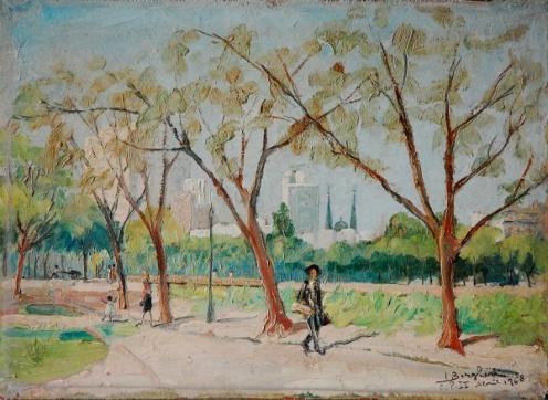 I. BORGHESE - Praça D. Pedro II -SP - Abril de 1968Óleo Sobre tela colado sobre Eucatex, Assinado Canto Inferior Direito, Medindo 25,00 x 34,50