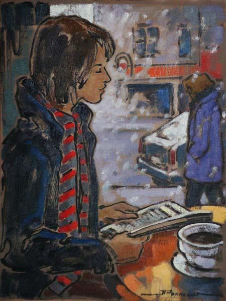 Jeannette PERREAULT (Canadá, 1958)- Première tempête, rue Mont-Royal, osplaca,30 x 23 cm