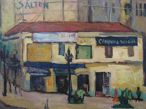 Jorge Mori (Brasil, 1932) esquina do anhagabaú, sp., 1952, osplaca, 54 x 65,PESP