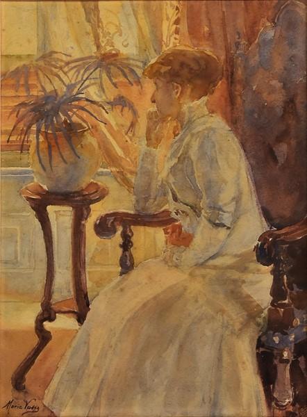 MARIA VASCO (1879-1965). Contemplando a Paisagem, aquarela, 35 X 25.