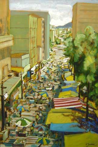 Márcio Schiaz (Brasil,1965)Rua General Carneiro - São Paulo,2004,Óleo sobre tela100 x 70 cm