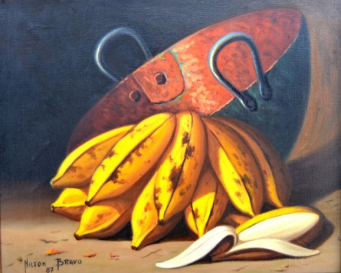 Nilton Bravo Óleo sobre tela Bananas com tacho de cobre. Assinado e datado 1987 (frente e verso) Medindo 30x40