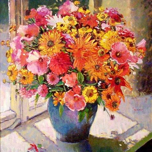 Raquel Taraborelli (Brasil, 1957) Bouquet na janela, 1999, ost, 80x80cm
