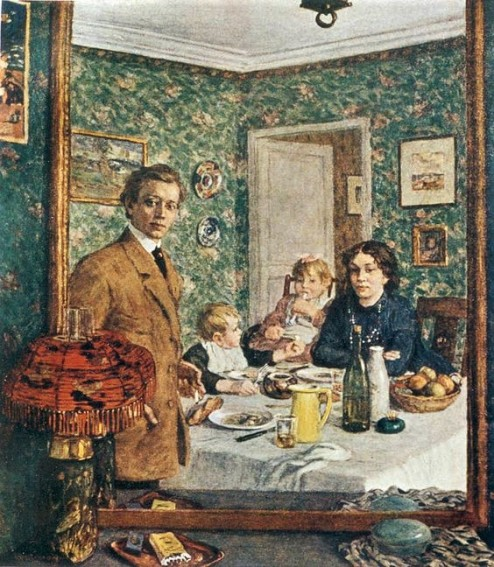 Tavik František Šimon - 1877-1942 - Portrait of the Family of the Artist in a Mirror, c.1910