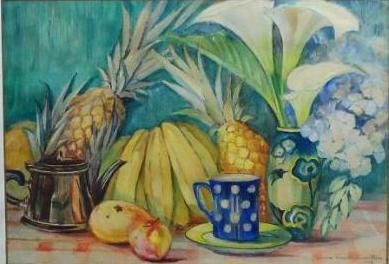VISCONTI CAVALLEIRO, Yvonne (1901-1965) - Frutos sobre a mesa, aquarela - 47 x 67 cm. Assinado e datado 1943. (2)