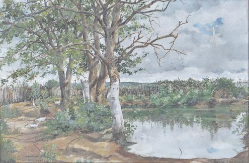WAMBACH, Georges (1902 - 1965) Paisagem campestre, o.s.t. - 44 x 67 cm. Ass. e dat 1945