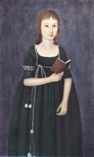 American Folk Art Painting, Unknown artist, Girl in Green, 1800