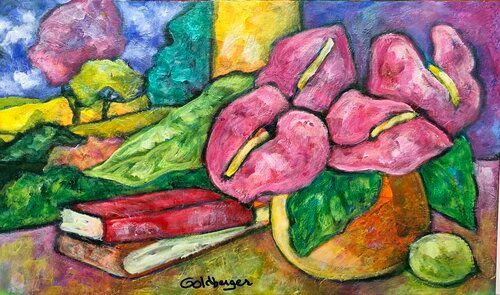 Ana Goldberger(Brasil, 1947-2019) Outro Limão Siciliano, acrílico sobre tela, 30 x 50 cm,