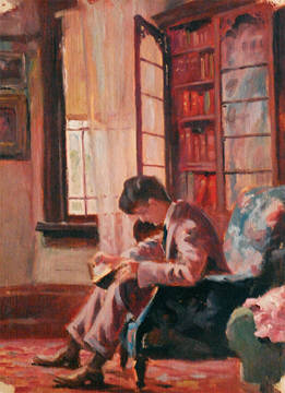 Arthur_A_Drummond (1891-1977)_BOY_READING_IN_ARMCHAIR_BY_A_WINDOW, 1914, ost, 11x8ins