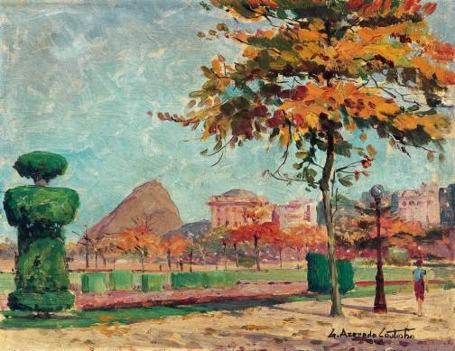 AZEREDO COUTINHO,Praça Paris,óleo s madeira, it. Rio, (década de 1940)27 x 35 cm