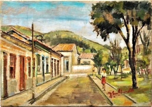 JOSÉ MARIA DE ALMEIDA. Conservatória, óleo sobre tela, 33 x 46 cm. Assinado no canto inferior direito. No verso, assinado localizado e datado, 1961.