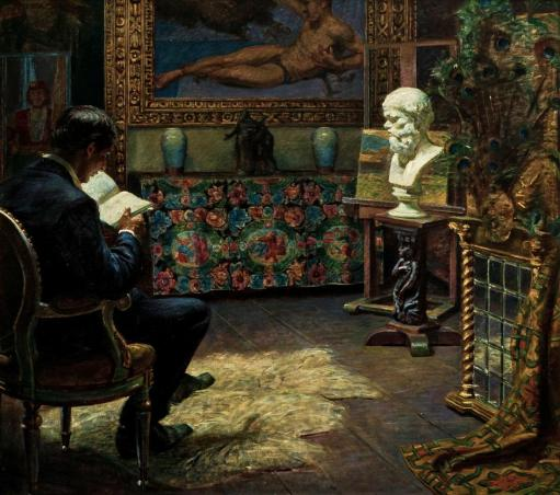 Kristian Zahrtmann, Interior with Young Man Reading, 1912. Oil on canvas, 70 x 63 cm. Bornholm Art Museum, inv. no. 375x58.