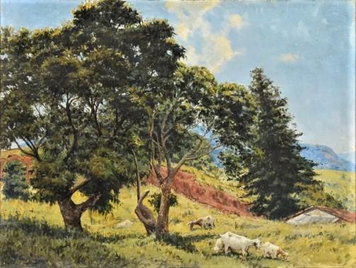 M. VASCONCELLOS (BRASIL-1900). Paisagem Serrana com Cabras, óleo s tela, 51 X 67. Assinado no c.i.e. c. 1951.