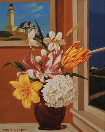 NILTON MENDONÇA (1952)Flores com hopperÓleo s tela,50 x 40 cm.2001