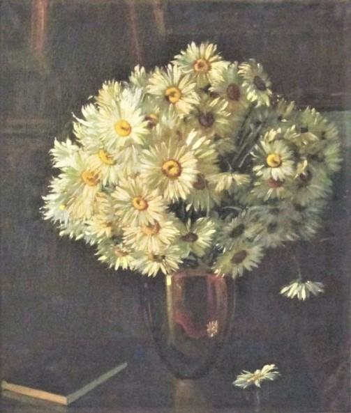 Sandro Manzini, Vaso com flor - óleo sobre tela - medindo 80x68cm.- assinado no canto inferior direito