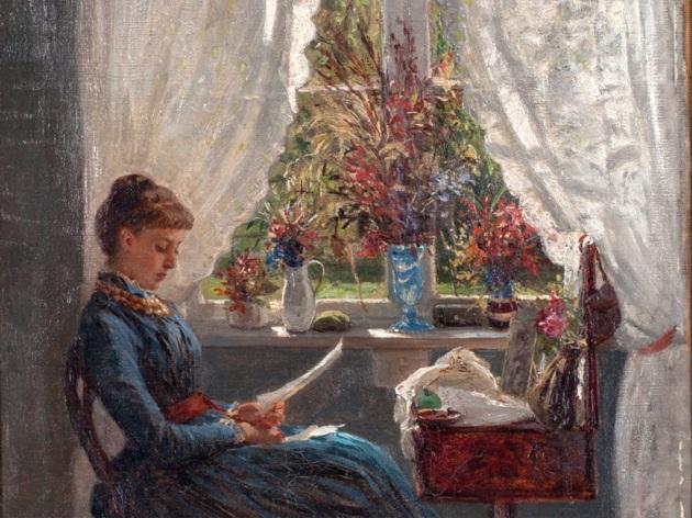 Amberg, Wilhelm (Alemanha, 1822-1899), leitora à janela, 1895,ost, 43 x 55cm
