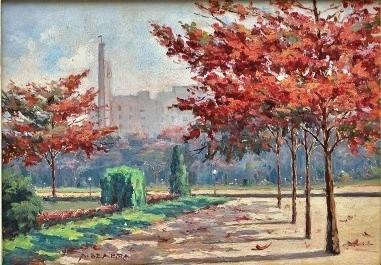 AUGUSTO SEABRA -Praça Paris, óleo sobre eucatex 24 x 33 cm. Assinado no canto inferior direito.