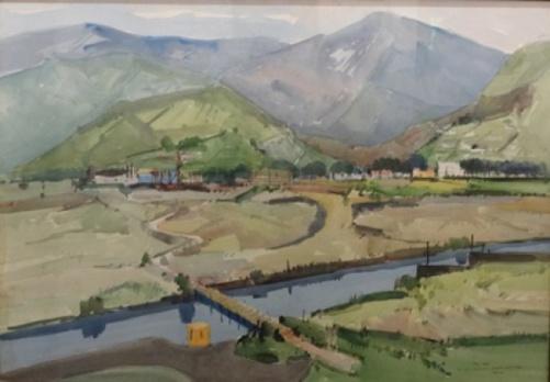 BRITO, ORLANDO (1920-1981). Av. das Américas, aquarela, 47 x 66,5. Assinado e datado (1980) no c.i.d.