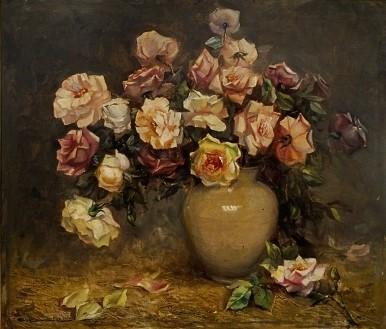 CARLOS OSWALD (1882-1972). Vaso com Rosas, óleo s tela, 70 X 80.
