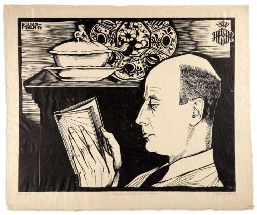 Conrad Felixmüller (Alemanha,1897-1977) BILDNIS - HANS CONON VON DER GABELENTZ, Woodcut, 1934, on wove paper, signed, dated, titled and inscribed Holzschnitt.397 x 495 mm.