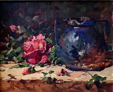 GIOVANI OPPIDO (1906-1988), Natureza morta, o.s.e., 38 x 45cm, assinado. Pintor ativo em SP, estudou na ENBA-RJ (1933-35), participou do SPBA onde recebeu todas as premiações nas década de 40 a 60