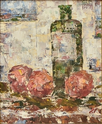 JOSE PAULO MOREIRA DA FONSECA (1922-2004)Garrafa e Maçãs Sobre a Mesa, óleo seucatex, 40 x 33. Assinado no c.i.d. e datado (1981) no c.i.d.
