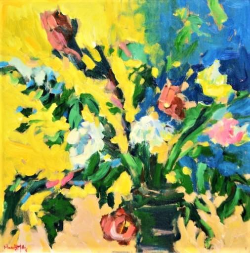 MAURO BANDEIRA DE MELLO (1960). Jarro com Flores do Campo, acrílica s tela, 50 X 50.