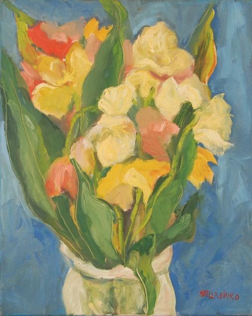 Stella Bianco (1944) aso com Flôres- ost. - med. 50 x 40 cm