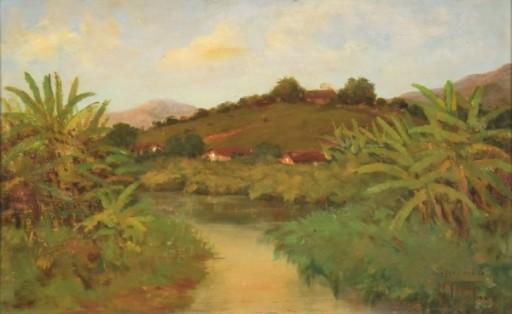 WALTER FEDER (1910-1957). Paisagem do Rio Piabanha - RJ, óleo s madeira, 42 X 65. Assinado e datado (1944)