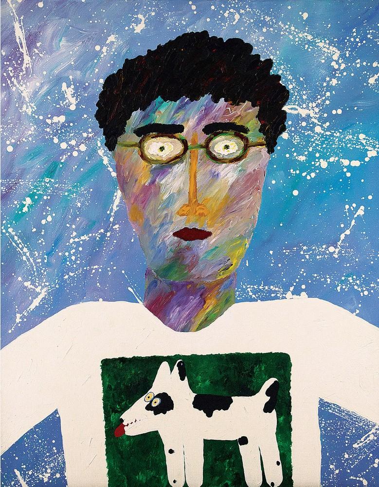 Angelo de Aquino,Auto Retrato com Neve,Liquitex sobre tela, Assinado, 1986,100 x 80 cm