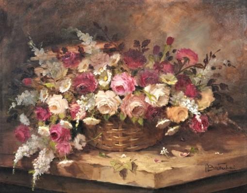 AUREA BERTACCHINI (de souza Paiva Brasil, 1946) - Cesto com Flores óleo sobre tela, 70 x 90 cm. Assinado no canto inferior direito.