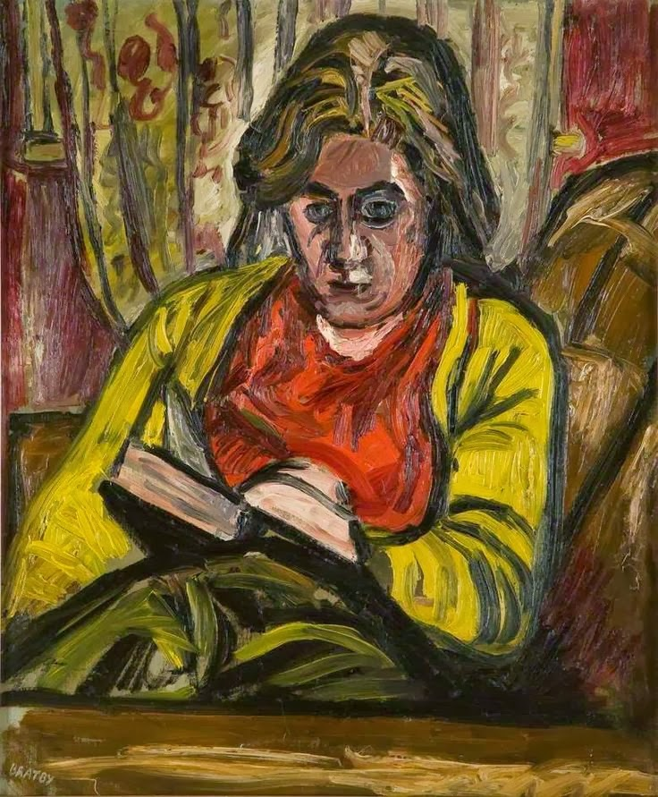 Bratby, John Randall (UK,1928-1992) Jean reading, c.1954, ost