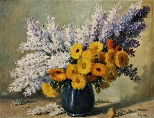 D. GEMELLI, (Domingos Gemelli), óleo sobre tela, jarro com flores, 70 x 55 cm.