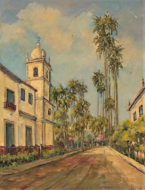 ETHEL LOURDES DE OLIVEIRA – `Igreja de Vassouras`, óleo sobre tela, assinada no verso. Menção honrosa no Salão Feminino de 1960. 64 x 48 cm.