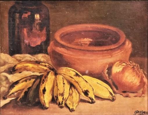 F. Soler Garcia (BRASIL - SÉC. XIX-XX). Pote, Bananas e Cebolas sobre a Mesa, óleo smadeira, 27 x 35. Assinado e datado no c.i.d.