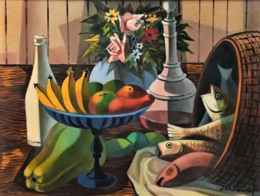 FERNANDO P. (1917-2005). Frutos, Jarro de Flores, Garrafas e Cesto de Peixes sobre a Mesa, óleo s tela, 46 x 61. Assinado no c.i.d.