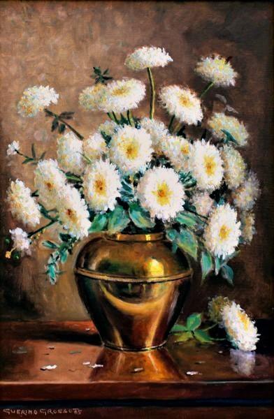 Guerino Grosso, Vaso de Flores, Óleo sobre tela, 60 alt X 40 larg (cm), acid, Ano 1985