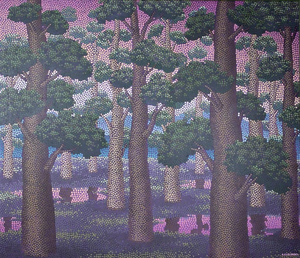 JOSÉ CLAUDINO NÓBREGA (1909-1995). Floresta, acrílica stela, 125 x 145 cm, ass. inferior direito, déc. 1970.