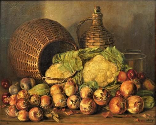 JOSE LIMA (1910-1980). Legumes, Cesta, Garrafão e Panela sobre a Mesa, óleo stela, 65 X 81