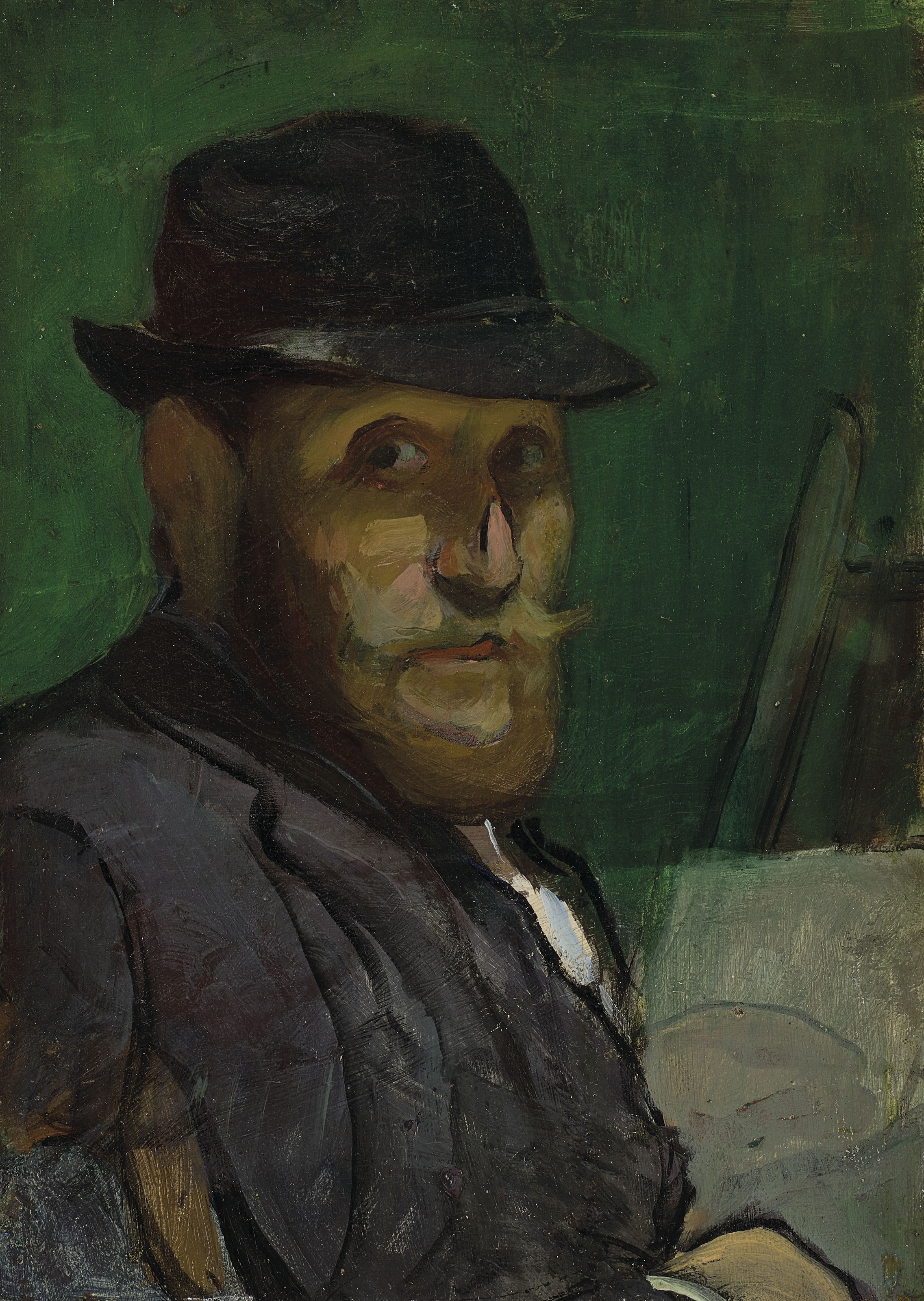 Louis Anquetin (1861-1932)Autoportrait au chevalet, huile sur panneau, 22 x 15.8 cmPeint vers 1892
