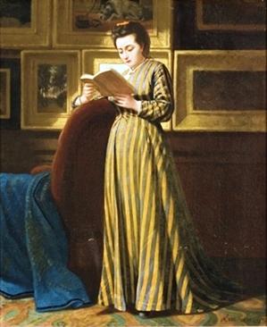 Michael Van Alphen (1840-) Senhora lendo na sala de quadros, 1870, 46 x 39 cm