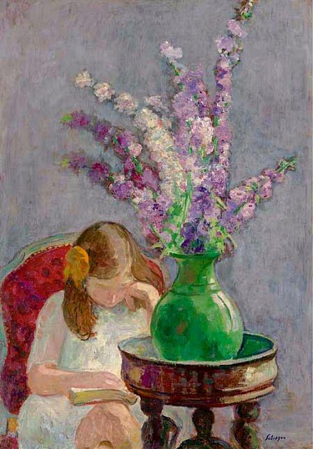 7_Henri_Lebasque_(French_artist,_1865-1937)_Girl_with_Flowers_1909
