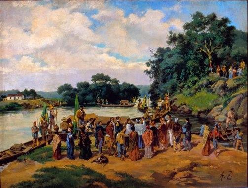 Aurélio Zimmermann (Alemanha, 1854–1920)Bênção dos canhoões (Porto Feliz) Museu Paulista da USP, 1920, Óleo sobre tela, 101 x 134 cm Museu Paulista