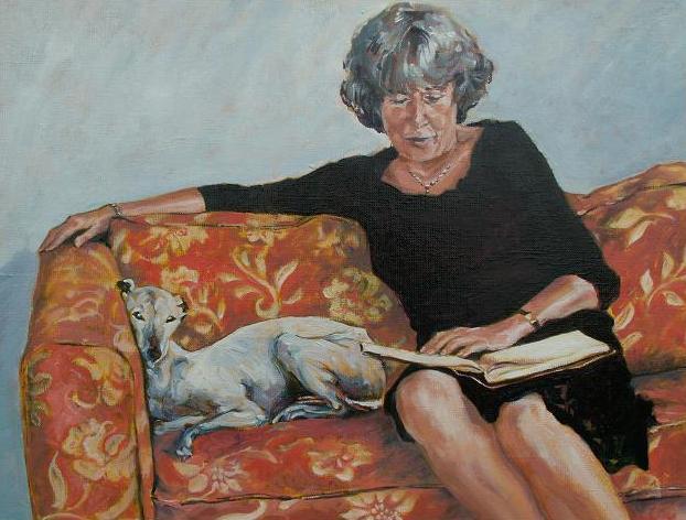 Birbee (Holanda, contemporânea)Mulher lendo com cachorroost, 40 x 50cm,wwwbirbee.nl.