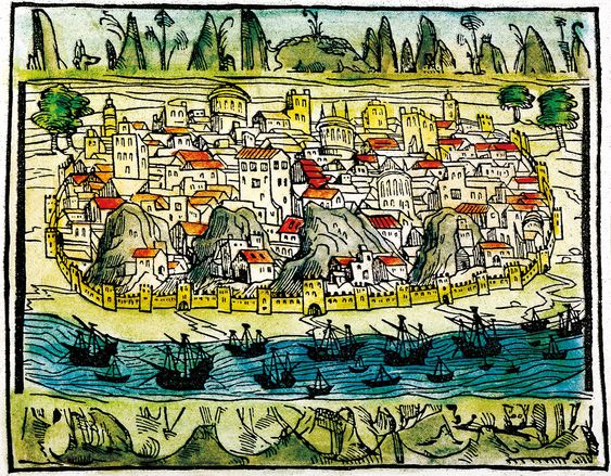 City by the sea, a view of Lisbon, 1548, Spanish woodcut.