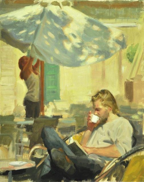 Coffee and Parasol, Aldo Balding(GB,1960), Oil on canvas, 50cm x 40cm