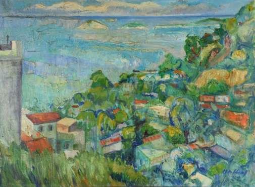 GERALDO ORTHOF (1903-1993)O VIDIGAL VISTO DO MEU, assinado e datado,1982, ost.74 x 102 cm