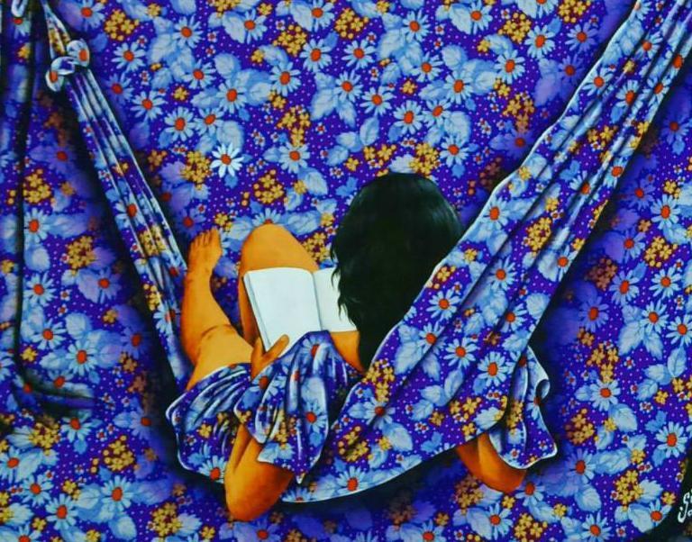 Gildásio Jardim Barbosa- do vale do Jequitinhonha - MG. Trabalho de pintura sobre tecidos estampados em tela. Que faz fusão dos personagens com as estampas -2