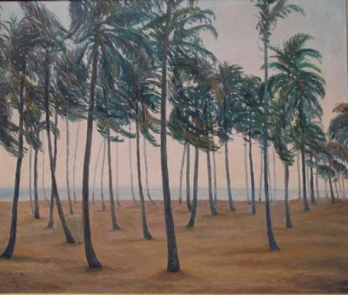 Hugo Adami. Paisagem praiana, óleo sobre tela, med. 60 x 80 cm, assinado c.i.direito. Pílade Francisco Hugo Adami