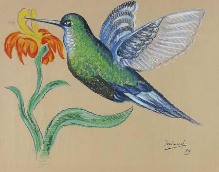 Inimá de Paula - Beija Flor,pastel, 1994, 68x87 cm